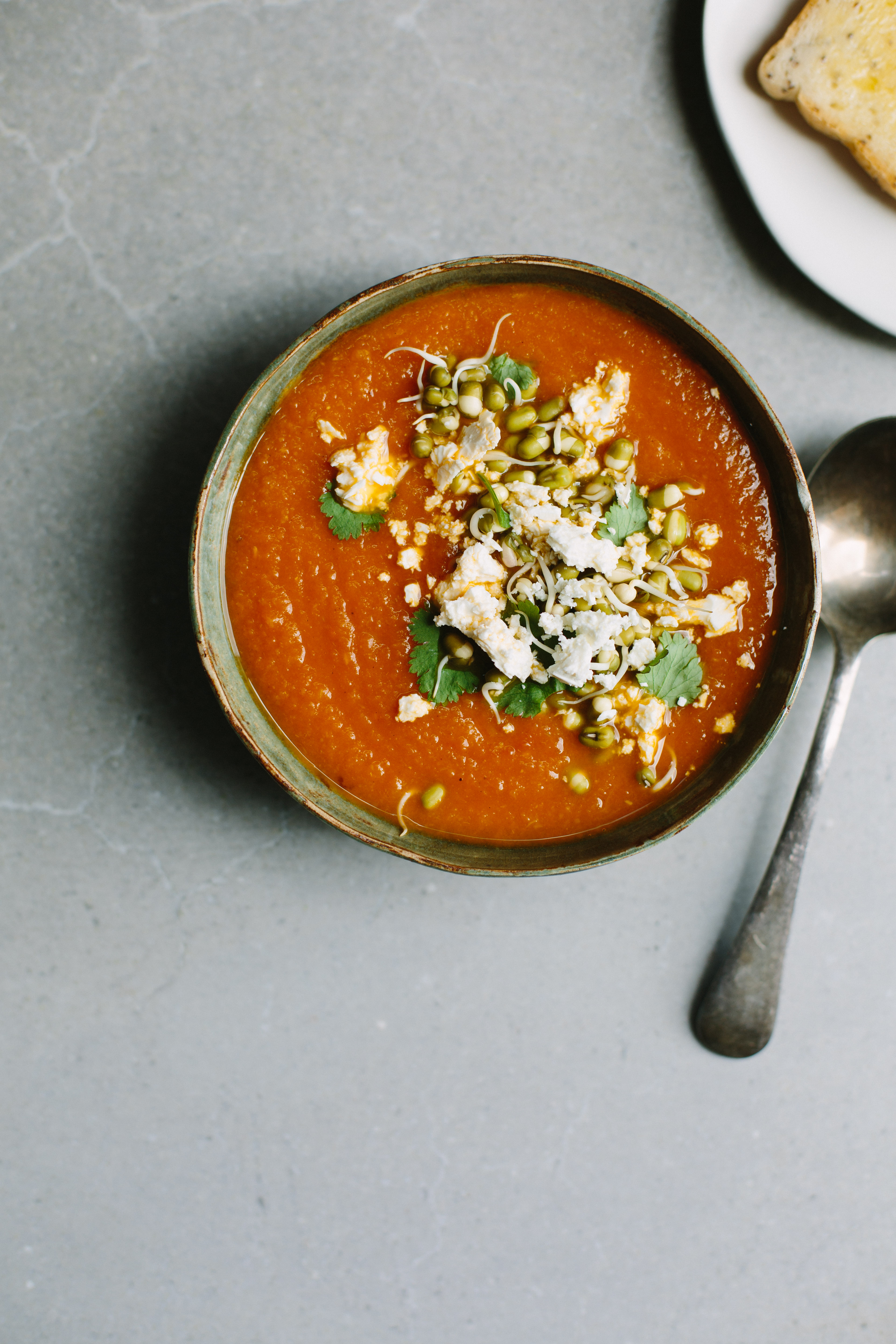 Curried carrot + red lentil soup with mung beans + feta | My Darling Lemon Thyme
