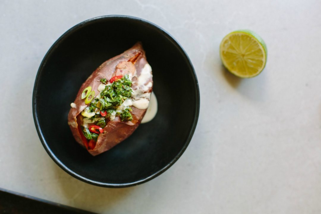 Chipotle Bean Lime Stuffed Sweet Potatoes With Herb Salsa - Cuisine bernollin
