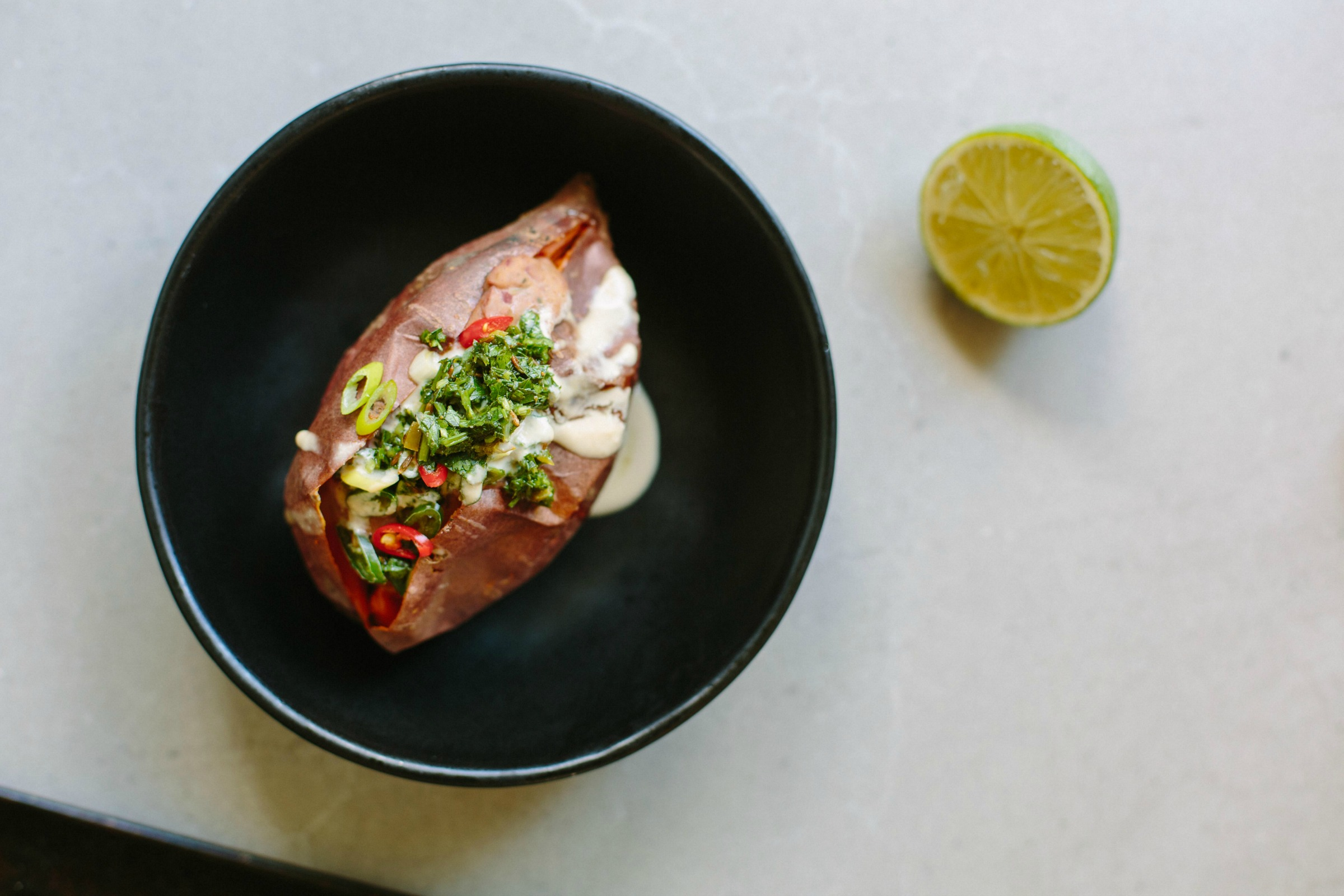 Chipotle, Bean + Lime Stuffed Sweet Potatoes with Herb Salsa | My Darling Lemon Thyme