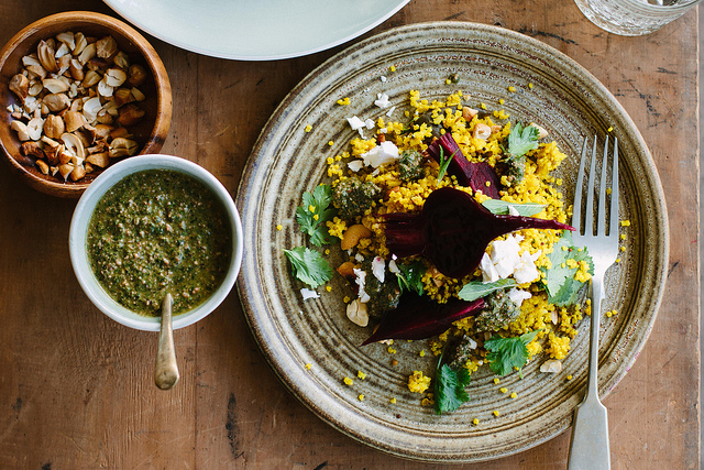 spiced millet pilaf with beetroot, feta + mint recipe